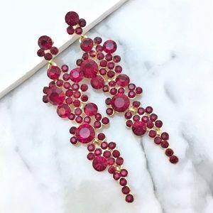 Jewelry - Red Crystal Rhinestone Chandelier Earrings